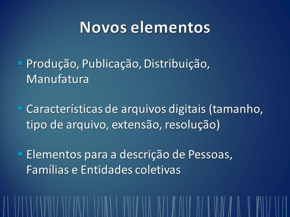 Novos elementos Produção, Publicação, Distribuição, Manufatura