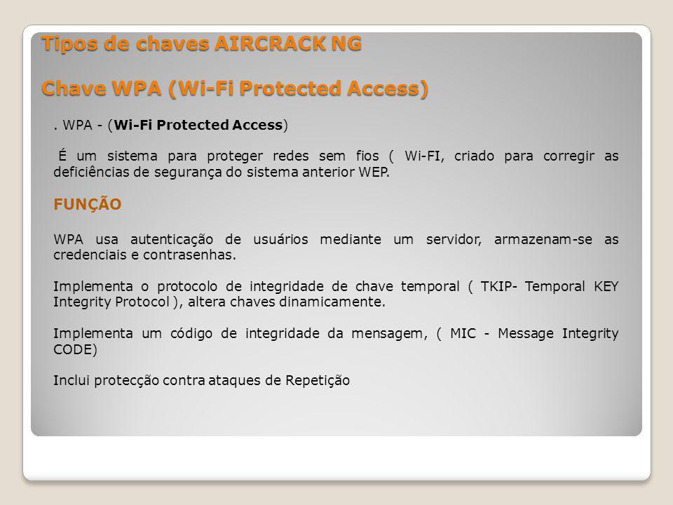 Tipos de chaves AIRCRACK NG Chave WPA (Wi-Fi Protected Access)
