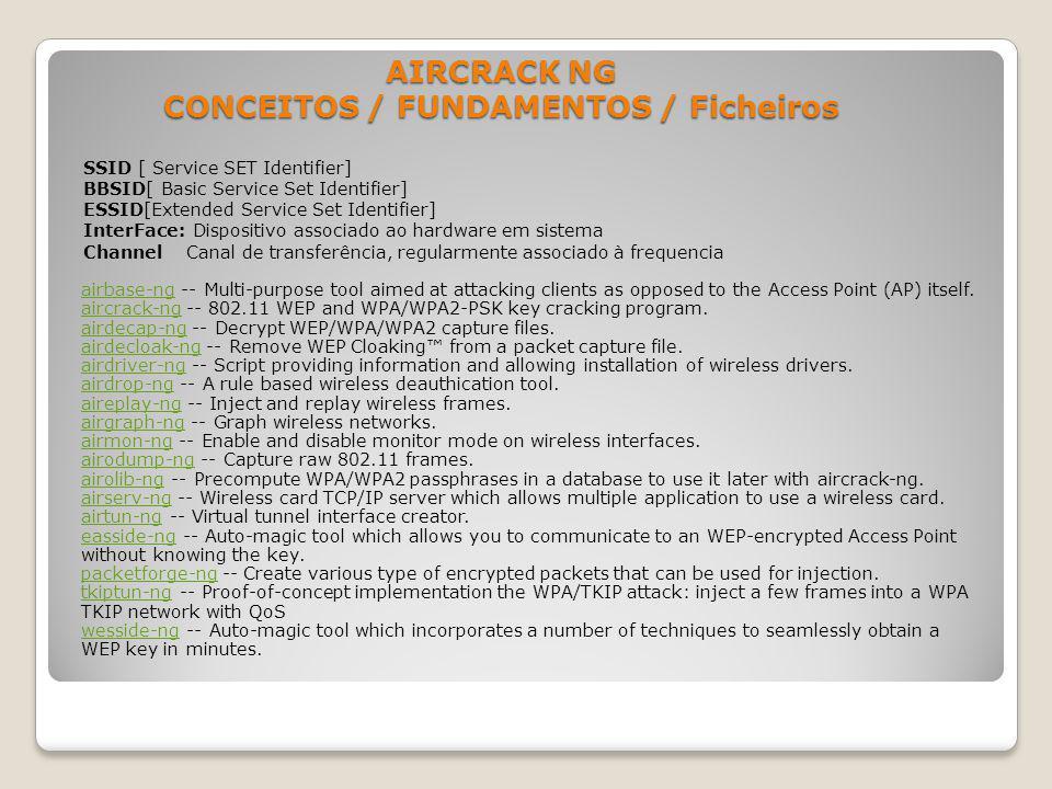 AIRCRACK NG CONCEITOS / FUNDAMENTOS / Ficheiros