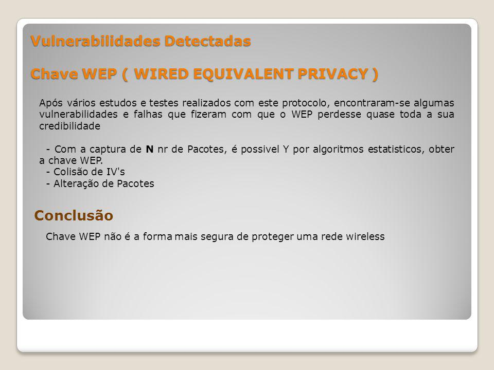 Vulnerabilidades Detectadas Chave WEP ( WIRED EQUIVALENT PRIVACY )