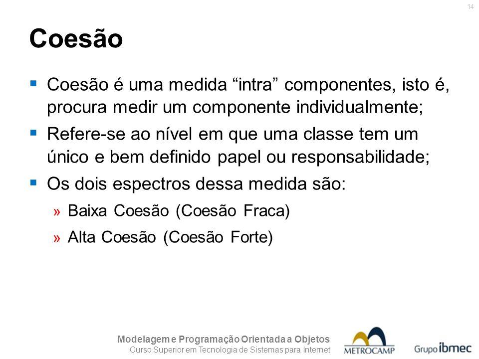 Coesão Coesão é uma medida intra componentes, isto é, procura medir um componente individualmente;