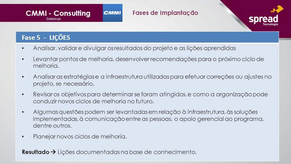 CMMI - Consulting Fase 5 - LIÇÕES Fases de Implantação
