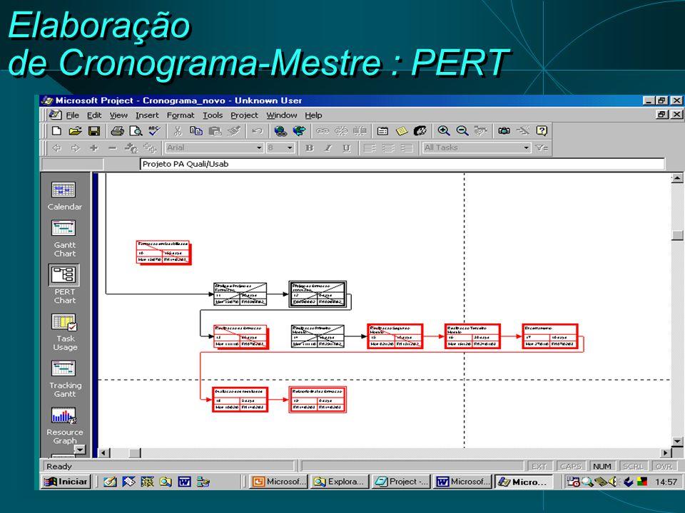 Elaboração de Cronograma-Mestre : PERT
