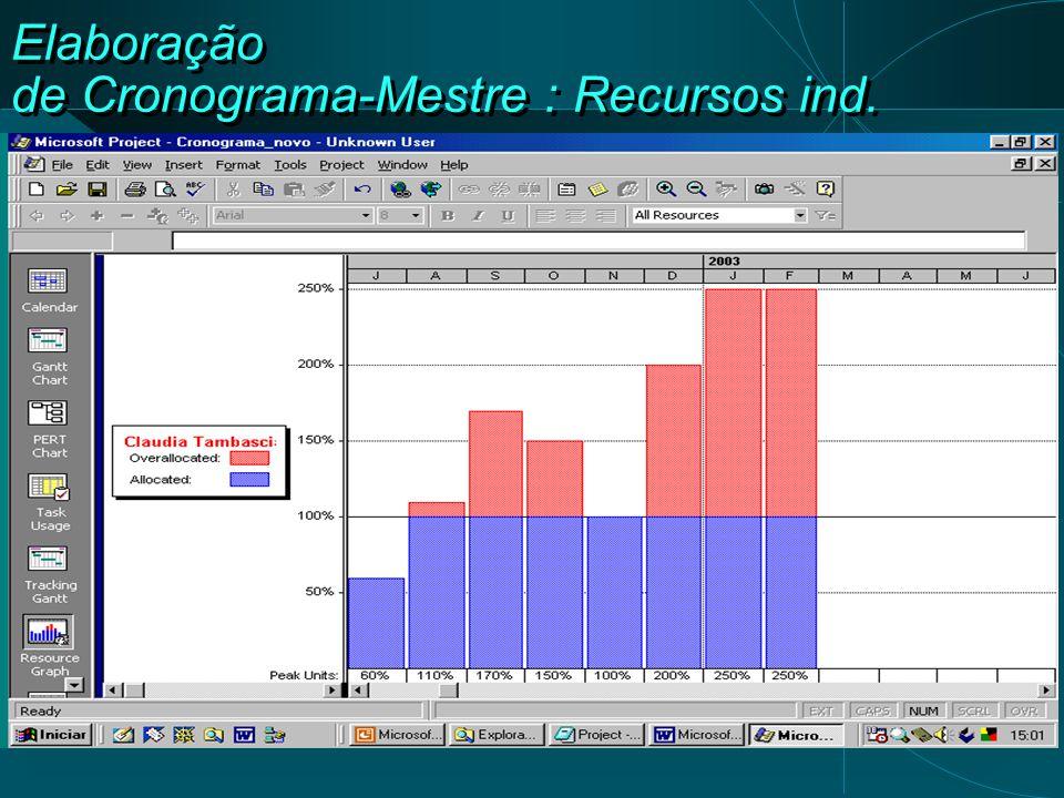 Elaboração de Cronograma-Mestre : Recursos ind.