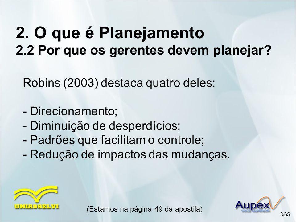 2. O que é Planejamento 2.2 Por que os gerentes devem planejar