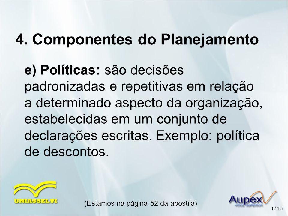 4. Componentes do Planejamento