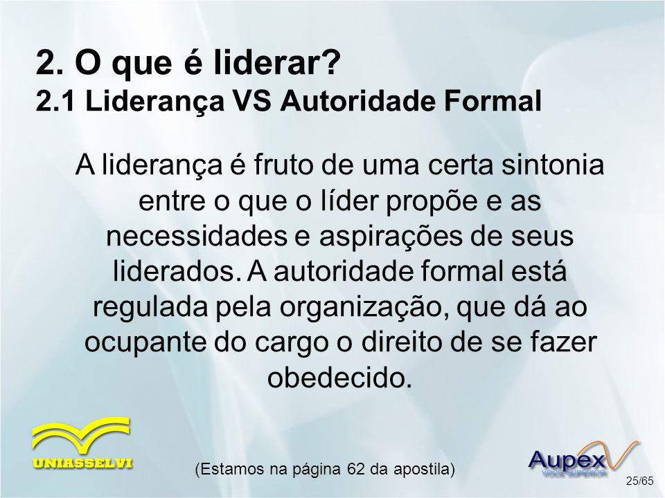 2. O que é liderar 2.1 Liderança VS Autoridade Formal