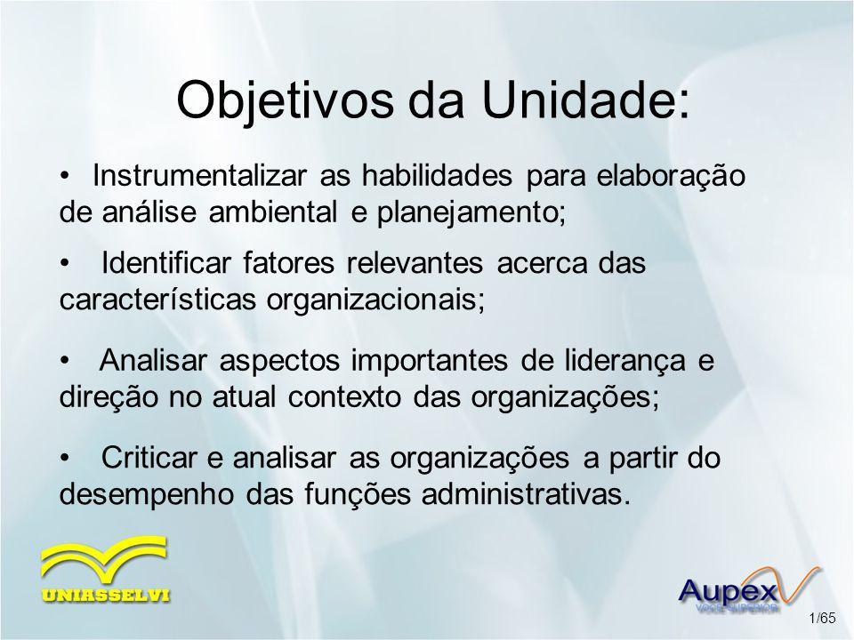 Objetivos da Unidade: Instrumentalizar as habilidades para elaboração de análise ambiental e planejamento;
