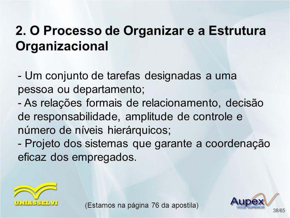 2. O Processo de Organizar e a Estrutura Organizacional