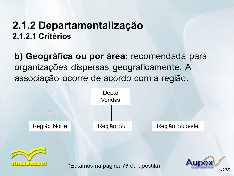 2.1.2 Departamentalização 2.1.2.1 Critérios