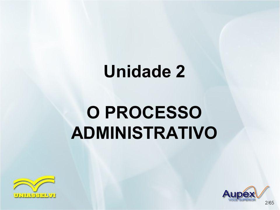 Unidade 2 O PROCESSO ADMINISTRATIVO