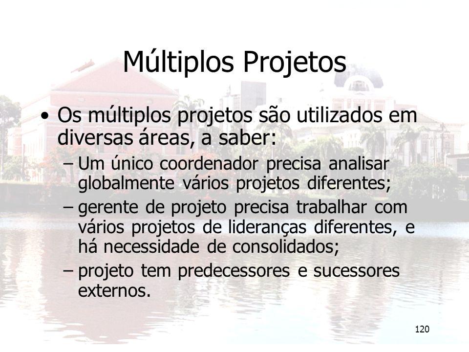 Múltiplos Projetos Os múltiplos projetos são utilizados em diversas áreas, a saber: