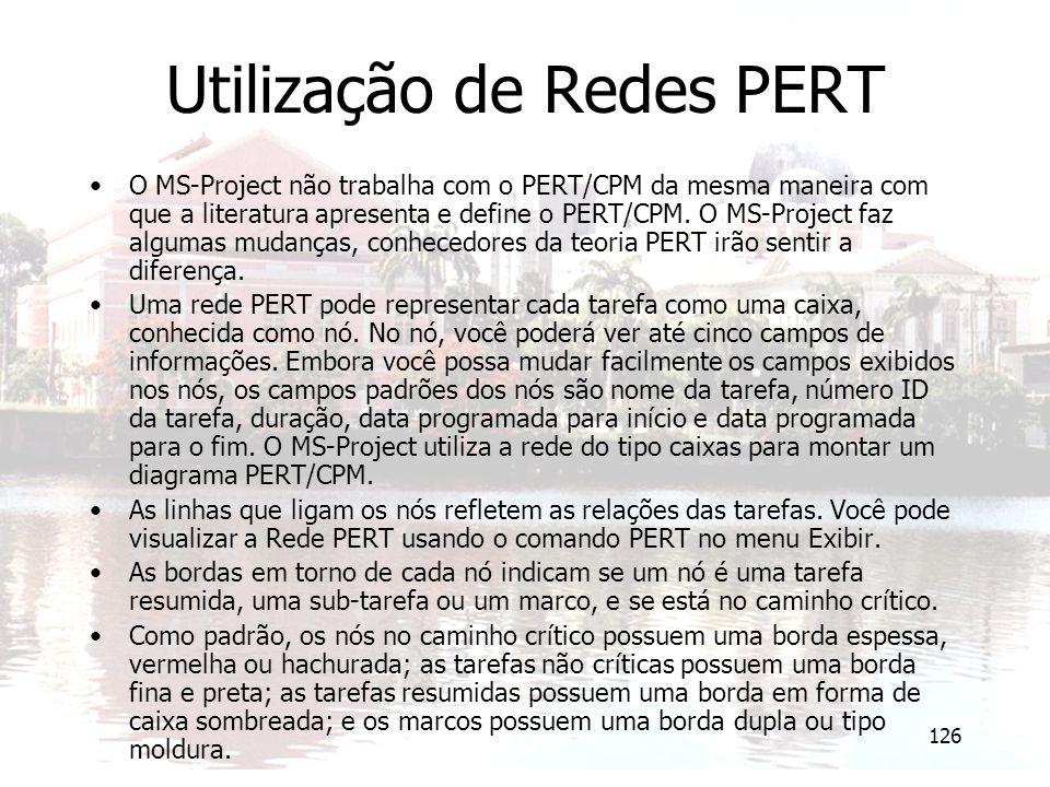 Utilização de Redes PERT
