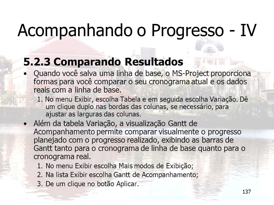 Acompanhando o Progresso - IV