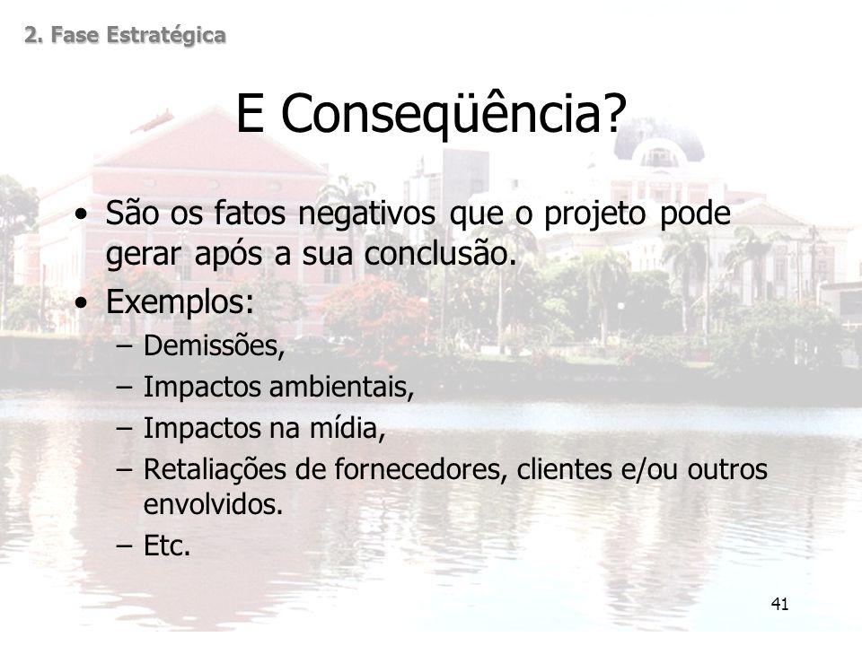 2. Fase Estratégica E Conseqüência São os fatos negativos que o projeto pode gerar após a sua conclusão.