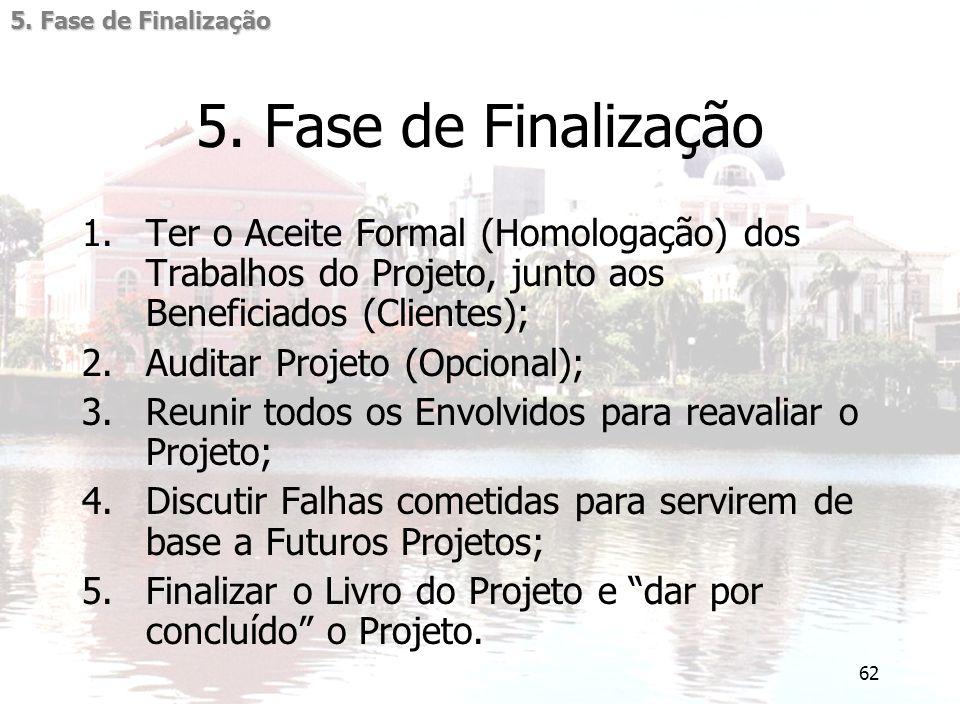 5. Fase de Finalização 5. Fase de Finalização. Ter o Aceite Formal (Homologação) dos Trabalhos do Projeto, junto aos Beneficiados (Clientes);