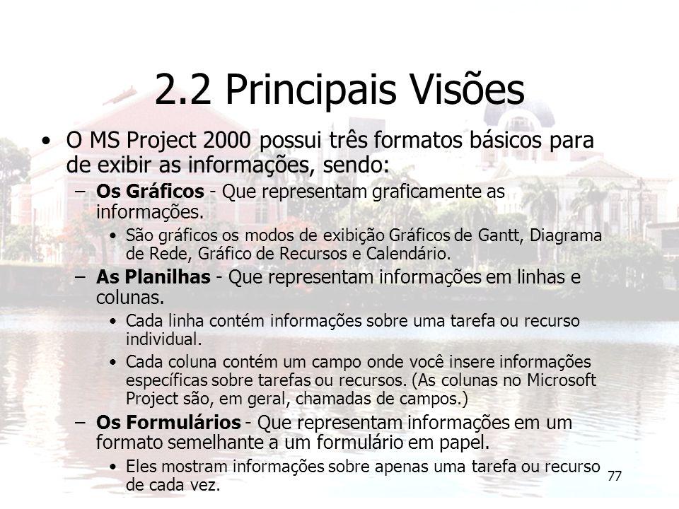 2.2 Principais Visões O MS Project 2000 possui três formatos básicos para de exibir as informações, sendo: