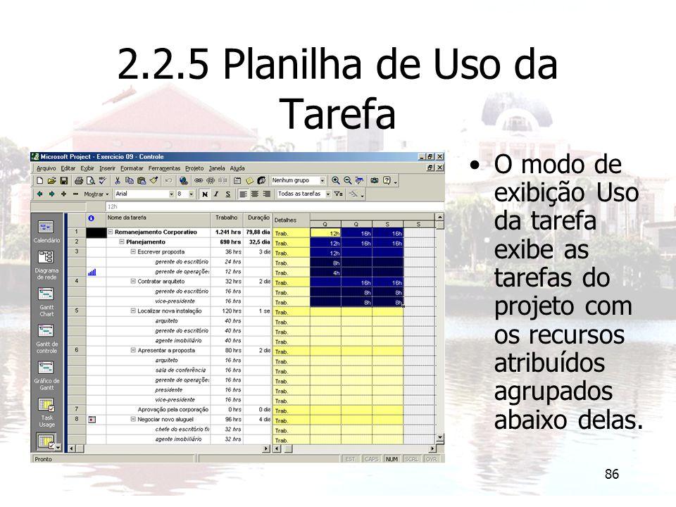 2.2.5 Planilha de Uso da Tarefa