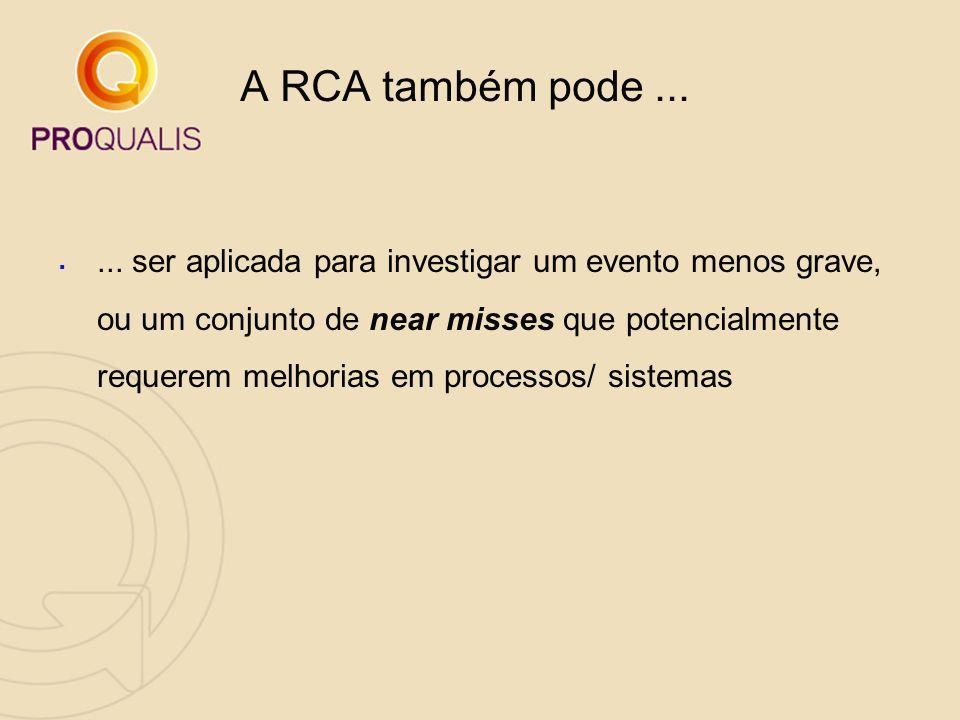 A RCA também pode ...