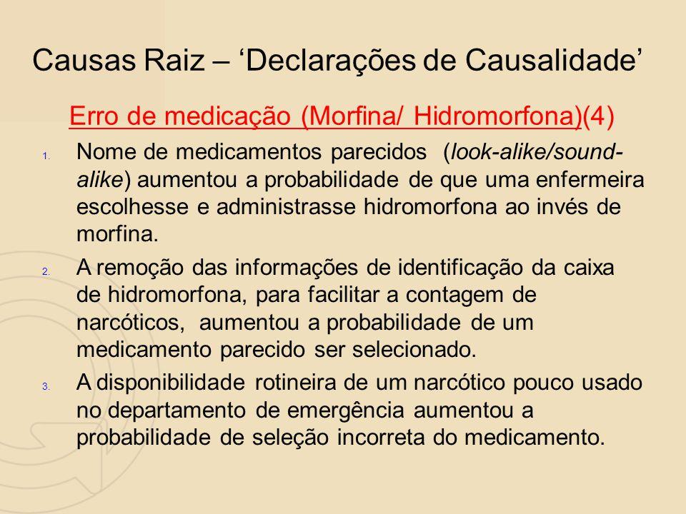 Causas Raiz – 'Declarações de Causalidade' Erro de medicação (Morfina/ Hidromorfona)(4)