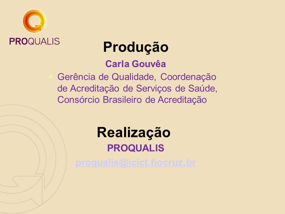 Produção Realização PROQUALIS proqualis@icict.fiocruz.br Carla Gouvêa