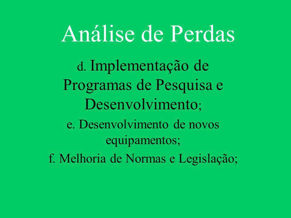 Análise de Perdas d. Implementação de Programas de Pesquisa e Desenvolvimento; e. Desenvolvimento de novos equipamentos;