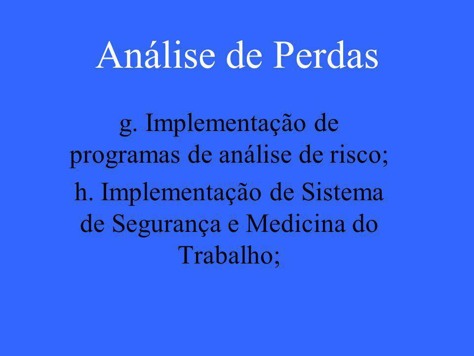 Análise de Perdas g. Implementação de programas de análise de risco;