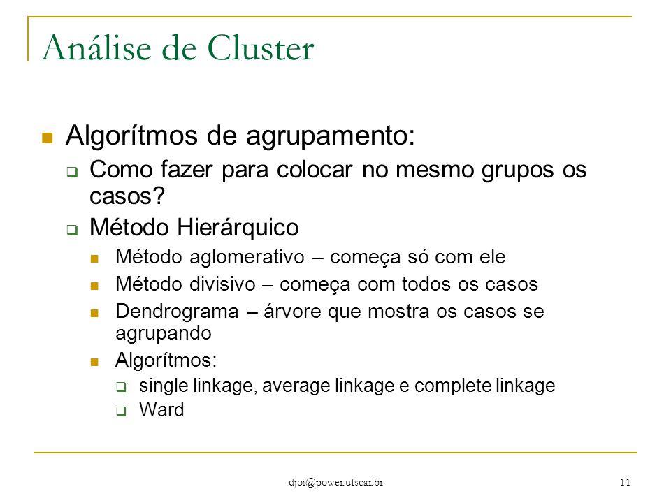 Análise de Cluster Algorítmos de agrupamento: