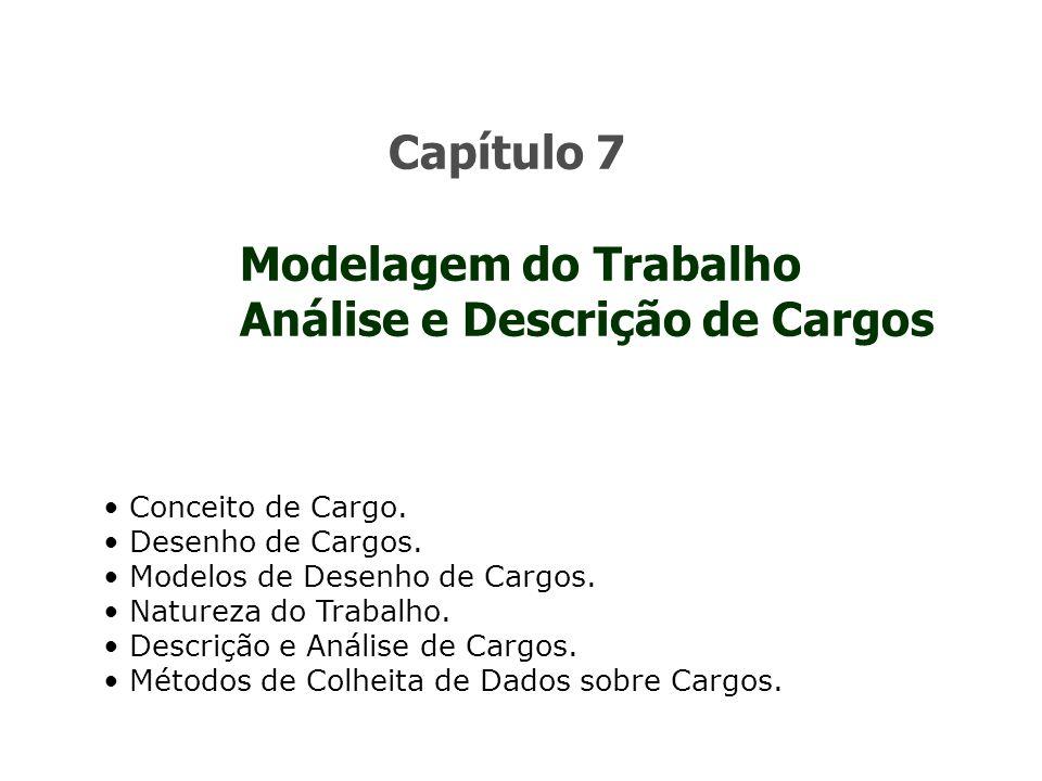 Modelagem do Trabalho Análise e Descrição de Cargos