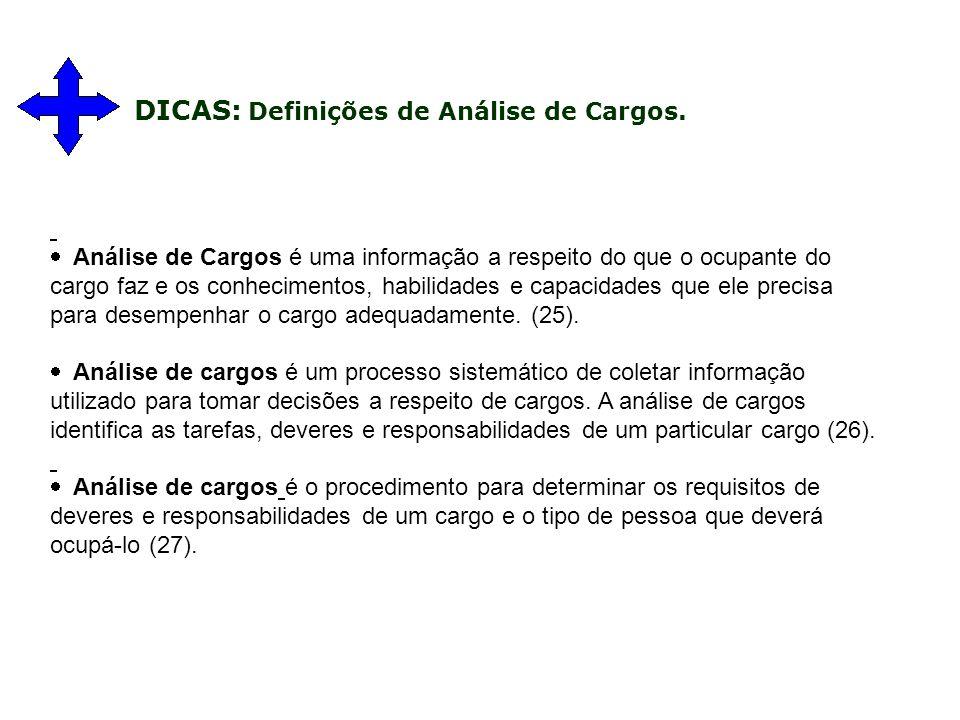 DICAS: Definições de Análise de Cargos.