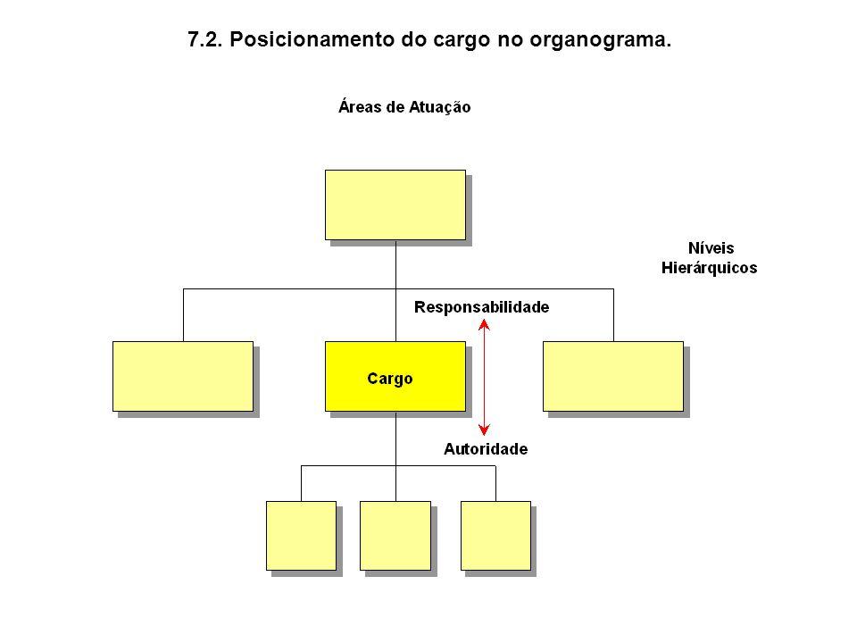 7.2. Posicionamento do cargo no organograma.