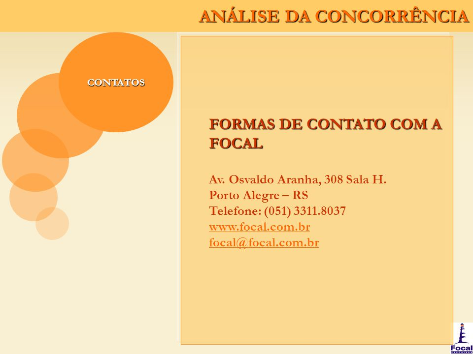 FORMAS DE CONTATO COM A FOCAL