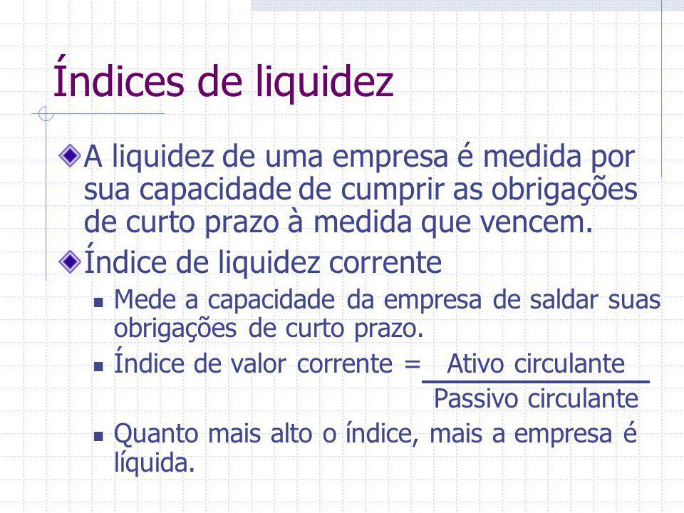 Índices de liquidez A liquidez de uma empresa é medida por sua capacidade de cumprir as obrigações de curto prazo à medida que vencem.