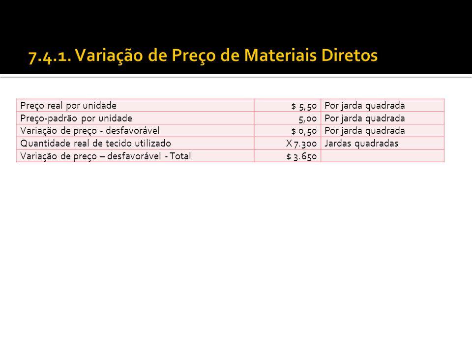 7.4.1. Variação de Preço de Materiais Diretos