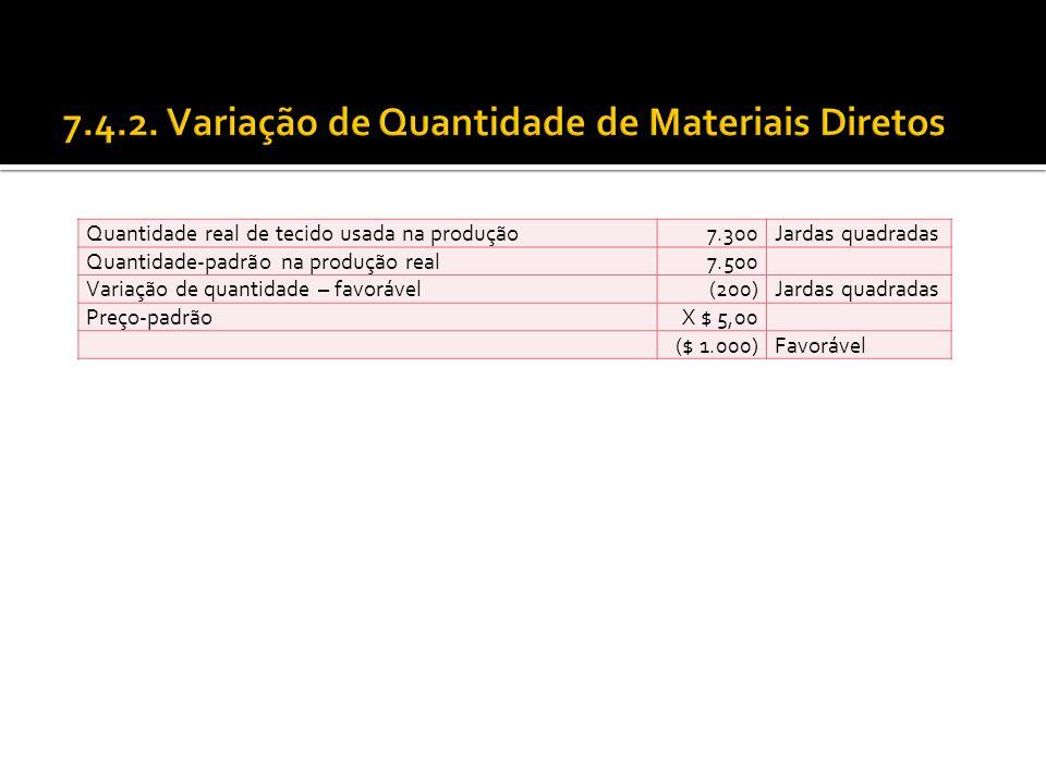 7.4.2. Variação de Quantidade de Materiais Diretos