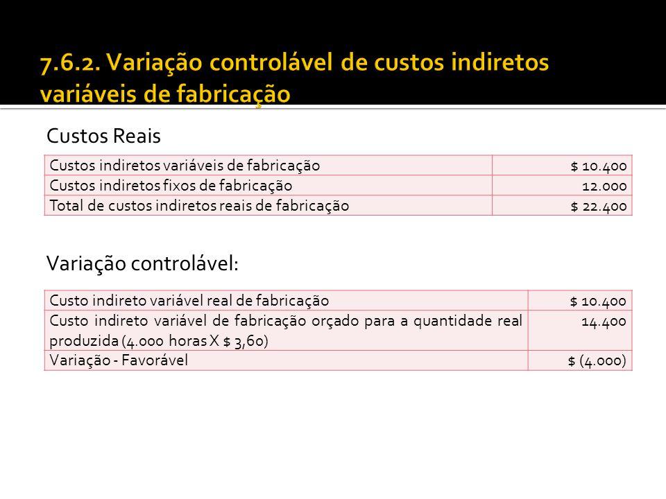 7.6.2. Variação controlável de custos indiretos variáveis de fabricação