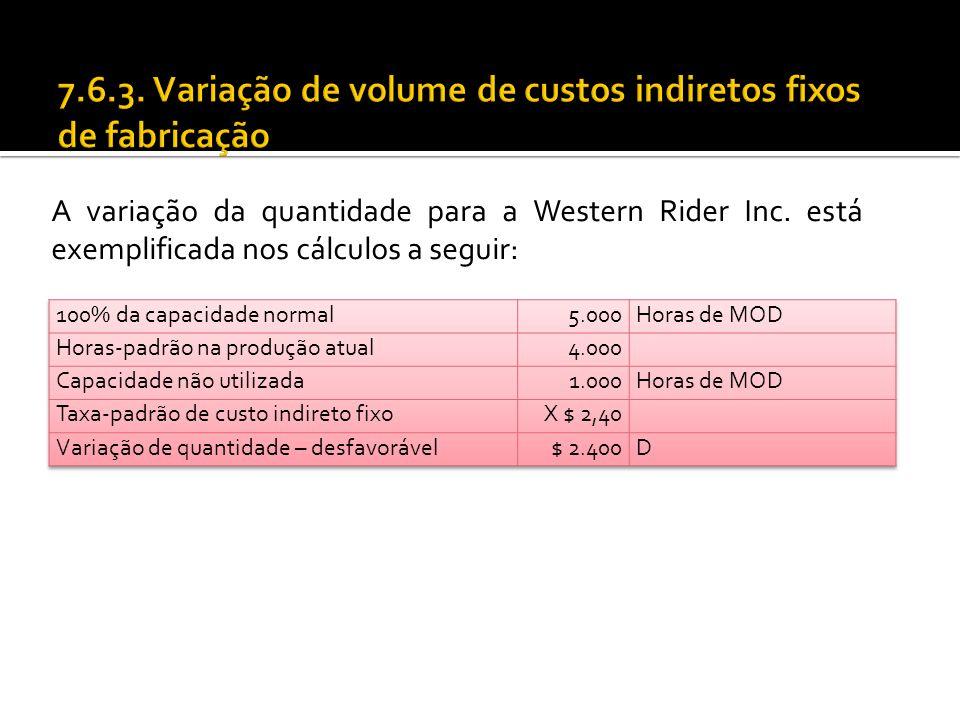 7.6.3. Variação de volume de custos indiretos fixos de fabricação