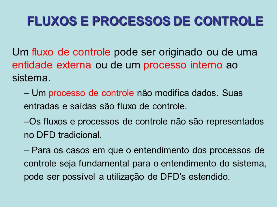 FLUXOS E PROCESSOS DE CONTROLE