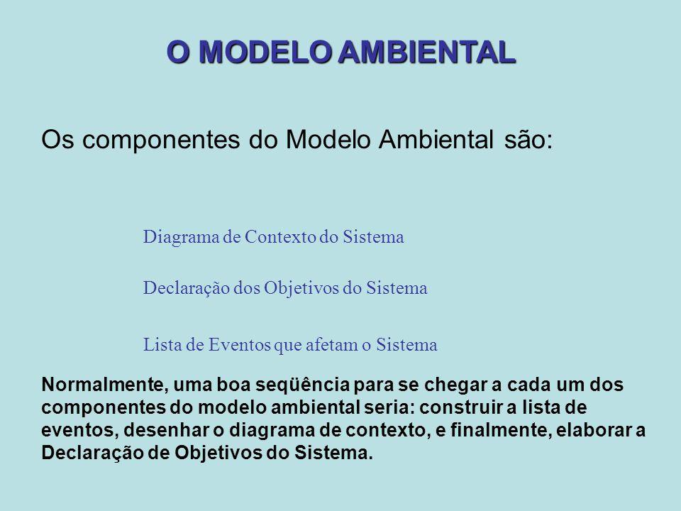 O MODELO AMBIENTAL Os componentes do Modelo Ambiental são: