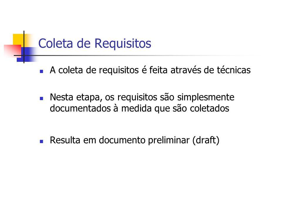 Coleta de Requisitos A coleta de requisitos é feita através de técnicas.