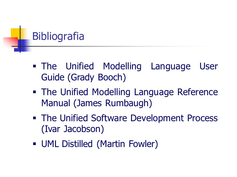 Bibliografia The Unified Modelling Language User Guide (Grady Booch)