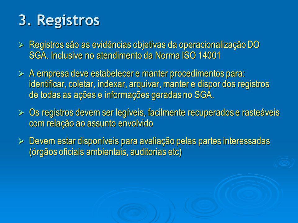 3. Registros Registros são as evidências objetivas da operacionalização DO SGA. Inclusive no atendimento da Norma ISO 14001.