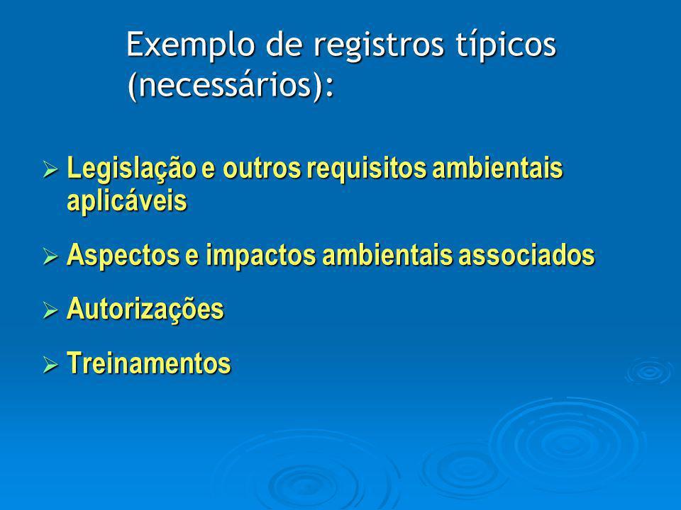 Exemplo de registros típicos (necessários):