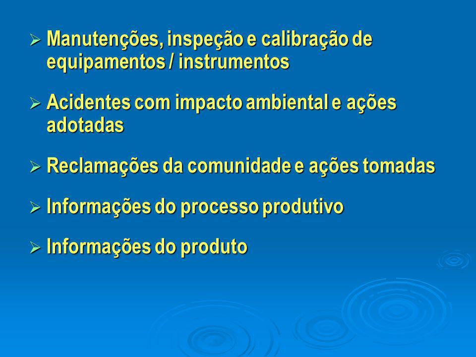 Manutenções, inspeção e calibração de equipamentos / instrumentos