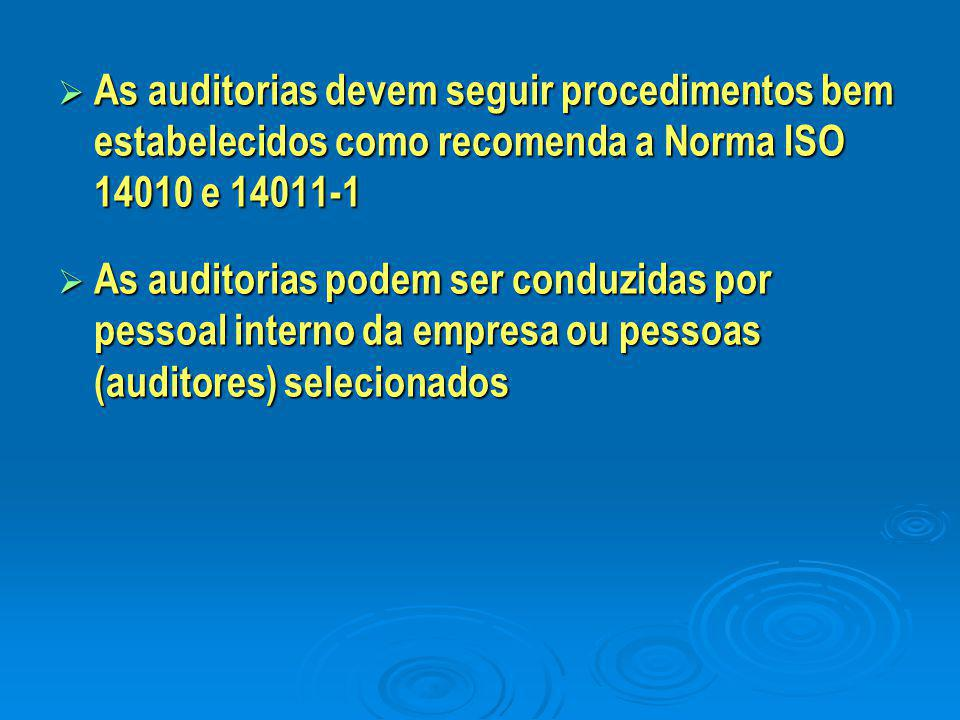 As auditorias devem seguir procedimentos bem estabelecidos como recomenda a Norma ISO 14010 e 14011-1