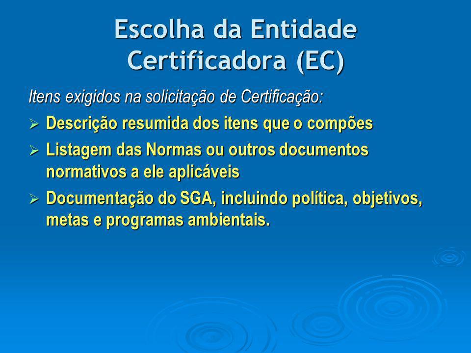 Escolha da Entidade Certificadora (EC)