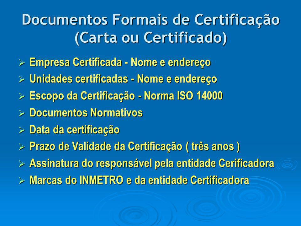 Documentos Formais de Certificação (Carta ou Certificado)
