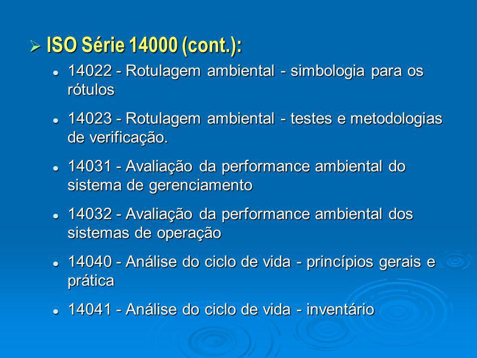 ISO Série 14000 (cont.): 14022 - Rotulagem ambiental - simbologia para os rótulos.
