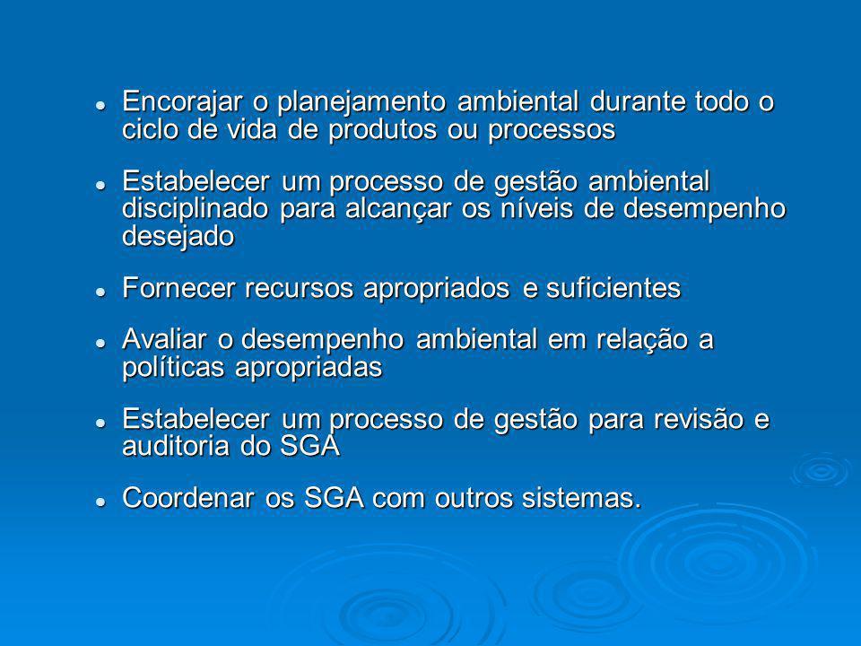 Encorajar o planejamento ambiental durante todo o ciclo de vida de produtos ou processos