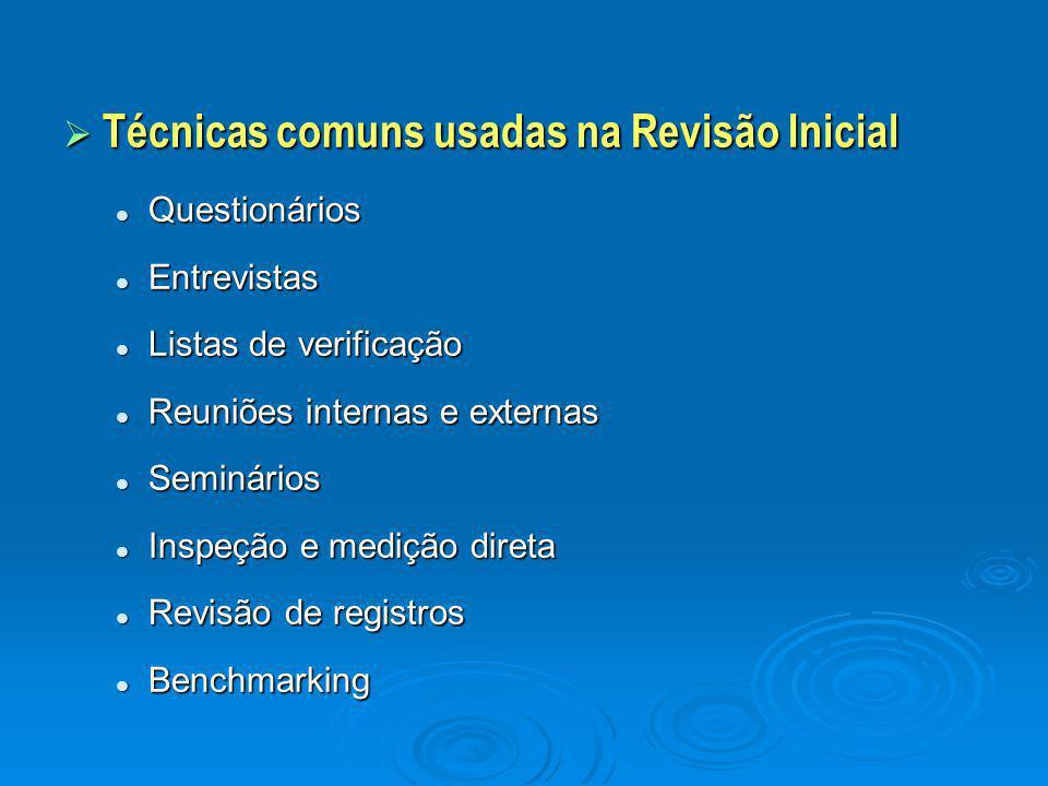 Técnicas comuns usadas na Revisão Inicial